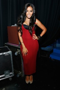 Angela Simmons backstage at 106 & Park